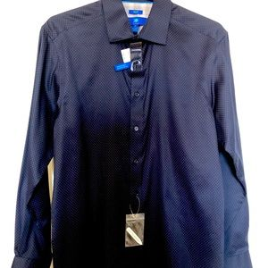 Egara Navy Square Long Sleeve Button Down Shirt